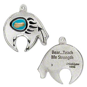 """Catalog picture don't do these pewter pieces justice! This is made in Colorado of lead free pewter. It has diamond etching that catches the light, giving the effect of diamond inlay. The stylized fetish bear shape includes the arrow toward the heart. The bear paw design features turquoise colored enamel. On the back of the piece is the engraving, """"Bear...Teach Me Strength."""" Perk at $30 level."""